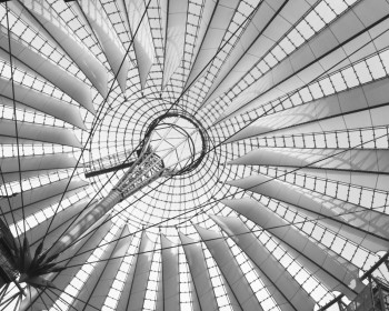 Dachkonstruktion des Sony Centers